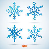 Set of watercolor snowflakes — Vector de stock