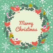 Christmas wreath with birds — Stock Vector