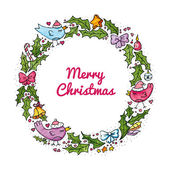 Watercolor Christmas wreath with birds — Stock Vector