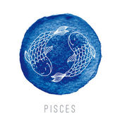 Watercolor illustration of fishes (Pisces) — Stock Vector