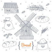 Bakery doodle set — Stock Vector