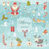 Cute colorful Christmas set with Santa Claus — Wektor stockowy
