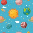Seamless pattern with planets and the sun — Stock Vector #56458463