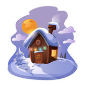 Small cute cottage with a Christmas tree in the night — Stock Vector