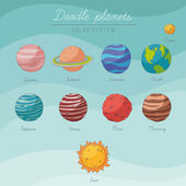 Doodle planets collection — Stock Vector