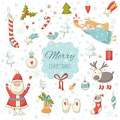 Cute colorful Christmas set with Santa Claus — Stock Vector