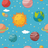 Seamless pattern with planets and the sun — Stockvector