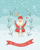 Christmas cartoon illustration with Santa Claus — Stock Vector