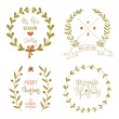 Christmas wreaths set with greeting messages — Cтоковый вектор #57089979