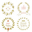 Christmas wreaths set with greeting messages — Vecteur #57089983