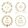 Christmas wreaths set with greeting messages — Cтоковый вектор #57089983