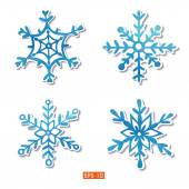 Watercolor snowflakes stickers set — Vector de stock