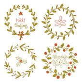 Christmas wreaths set — Stock Vector