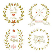 Christmas wreaths set with greeting messages — Vetorial Stock