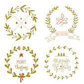 Christmas wreaths set with greeting messages — Stock Vector