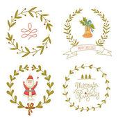 Christmas wreaths set with Santa Claus and Christmas bell — Vector de stock