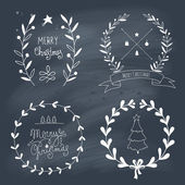 Christmas design elements and lettering — Stock Vector