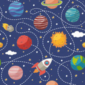 Seamless pattern with planets and the sun — Stock Vector