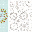Set of hand drawn Christmas elements — Stock Vector #57090019