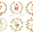 Christmas wreaths set with Santa Claus and and other decoration — Stock Vector #57090023