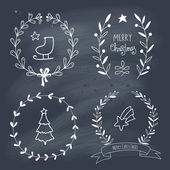 Christmas wreaths set with Christmas symbols on chalkboard — Stock Vector