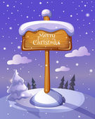 Christmas sign board on winter background — Stockvektor