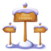 Christmas sign boards set on winter background — Stock Vector
