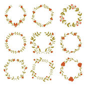 Set of beautiful floral wreaths — Stock Vector