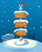 Christmas sign post with three direction boards on winter backgr — 图库矢量图片