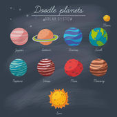 Doodle planets collection on blackboard — Stock Vector