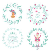 Christmas wreaths set with Santa Claus and Christmas bell — Stock Vector