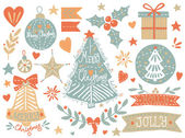 Sketchy Christmas elements set — Stock Vector