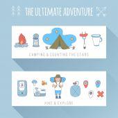 Set of doodle adventure banners — Stock Vector