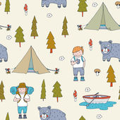 Seamless pattern with adventure equipment — Vector de stock