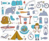 Camping adventure set — Stock Vector
