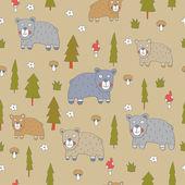 Бесшовный фон с мишками — Cтоковый вектор