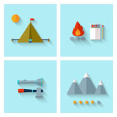 Camping adventure icons set (flat design) — Stock Vector