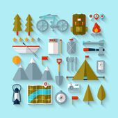 Camping flat design — Vetor de Stock