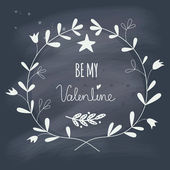 Valentine's Day wreath with text on blackboard — Vetor de Stock