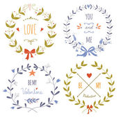 Set of wreaths for the Valentine's day — Stock Vector