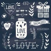 Valentine's day design elements on blackboard — Stock vektor