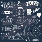 Valentine's day design elements on blackboard — Stock Vector