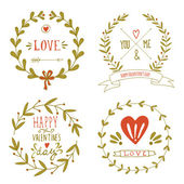Valentine's day wreaths with messages and other design elements — Stock Vector