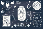 Valentine's day design elements on blackboard — Vetor de Stock