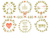 Set of Valentine's day wreaths and other design elements — Stock Vector
