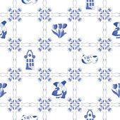Seamless pattern with Dutch ornaments (Deflt blue style) — Stock Vector