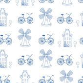 Seamless pattern with Dutch ornaments (Deflt blue style) — Zdjęcie stockowe
