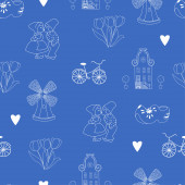 Seamless pattern with Dutch ornaments (Deflt blue style) — 图库照片