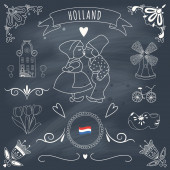 Collection of Dutch ornaments on blackboard — 图库照片