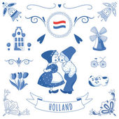 Collection of Dutch ornaments (Deflt blue style) — Stok fotoğraf